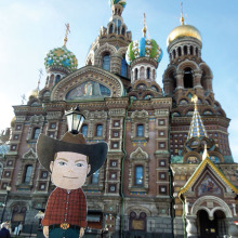 Robbie in front of the Cathedral of the Resurrection ot the Savior of the Spilled Blood in Russia.