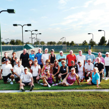 The Robson Ranch Tennis Club (RRTC) and the Denton Country Club (DCC) tennis groups that participated in the mixer.