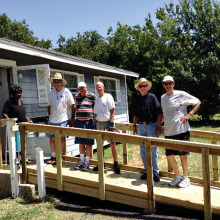 Ms. Ruth and her ramp builders: Bruce Walker, Carl Smothers, Jerry Waynant, Dick Anderson and Bill Wright.