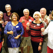Left to right: Pam Kanawyer, Judy Klenz, Bob Klenz, Cindy Brekke, Dale Brekke, Beverlee Deardorff, Frank Deardorff, Linda Truitt and Bob Horton. Photo by Tom Kanawyer.