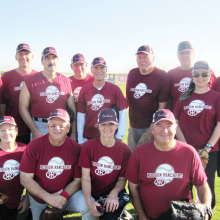 Fall Season Champs, left to right, front: Nancy Rogus, Eddie Reeves, Lori Slocum (asst. manager) and Brad Killingsworth; back: Mike Slocum (manager), David Jones, Joe Bingiel, Ken Rogus, Terry Scholze, Fred Palmer, Steve Pratt, Alana Bingiel and Max Bear