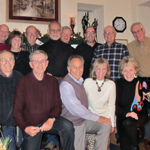 """The """"volleyballers"""" and spouses at their holiday party"""