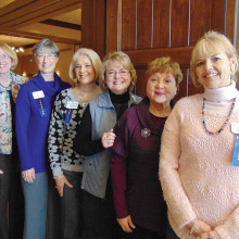 Greeters, left to right: Kasey Miller, Cathy Harden, Sandy Conwell, Diane Eoff, Geraldine Gawle and Kathie Marsh