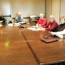 Finance Committee members, left to right: Jeanne Barger, Ed Bailey, Tom Pryor, Larry Turner, Chair Jeff Miller, Vice-Chair Gary Koenig, Lori Williams and Kevin Andrews