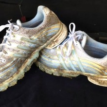 Muddy golf shoes