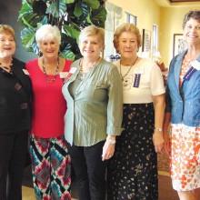 Greeters, left to right: Geraldine Gawle, Valda Bowdoin, Sharon Foy, Bev Clegg and Nancy Lussier