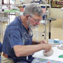 Wayne Detjen creates a bowl to sell.