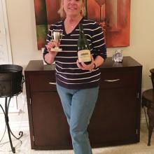 Susan Miloser brought the winning wine.