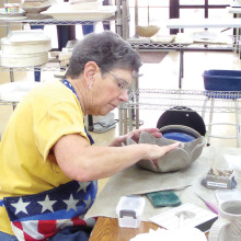 Jackie Graham creates a unique bowl.