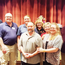 First place team, The Village Idiots: Mike Welton, Doyle Mannschreck, Tom and Ingrid Scharnberg, Connor and Paige McLeod and Ken and Lynne McKeown