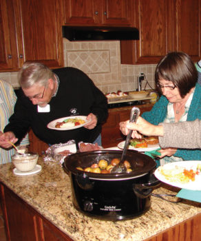 Bill Mathers and Judy Smith having corned beef and cabbage; Photo by Dennis Brooks