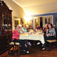 All the LOLs fondued and filled the room with laughter and anticipation of their next gathering. LtoR around the table are: Peggy Crandell, Sally Baggott, MaryAnn Carroll, Glenda Brown, Carol Cieslik, Gayle Cole, Jan Utzman, Joan Krause and Judy Ondina.