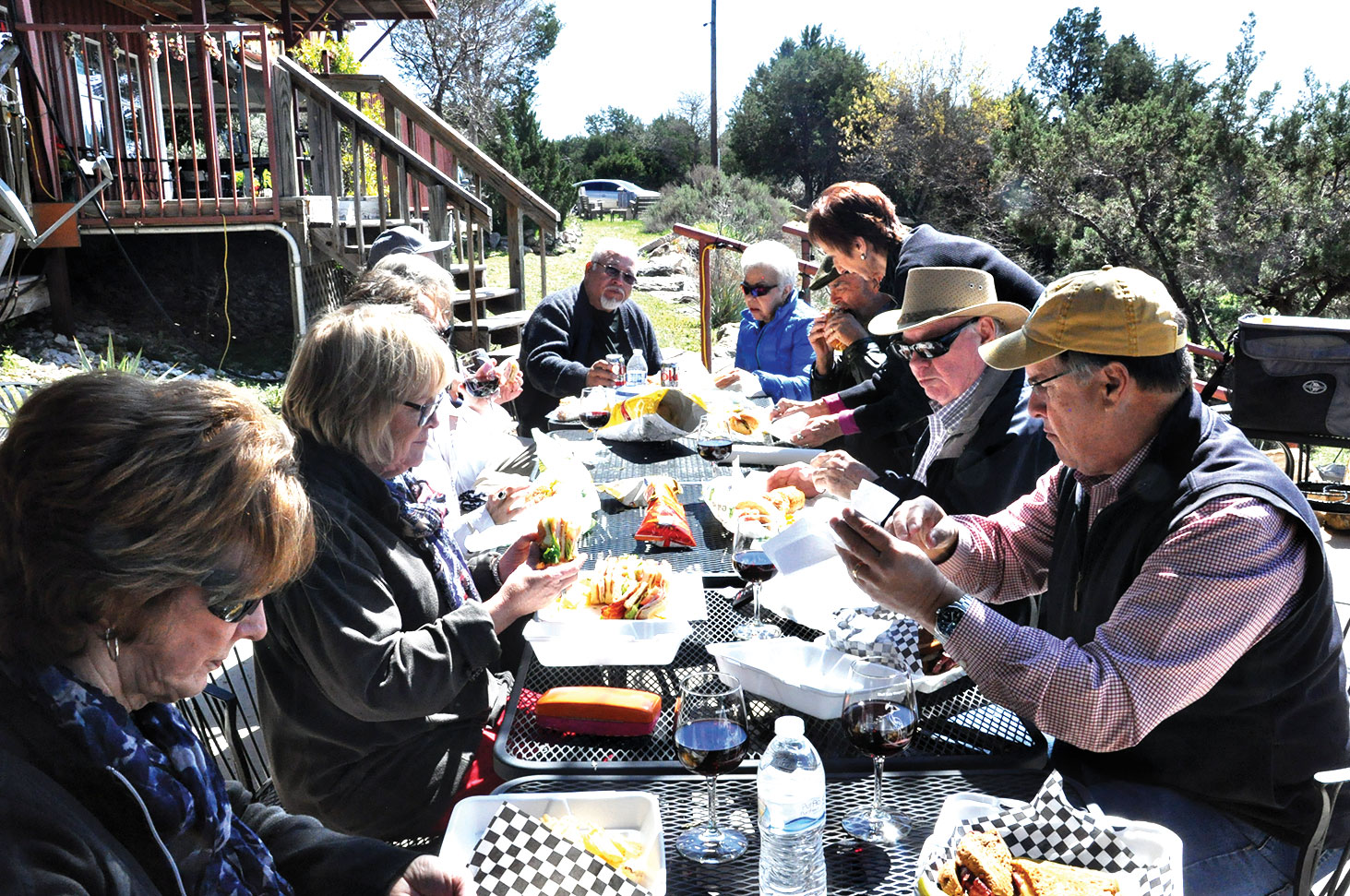 Meritage Wine Group picnic spread outside Bluff Dale Winery