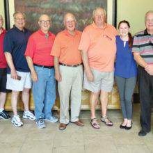 "Left to right: Dave Parker, Wayne Rees, Chuck Newcomer, Norm Leggett, Mike Elliott, Mick Fox, Frost, Ken Javor and ""D""wight Evans"