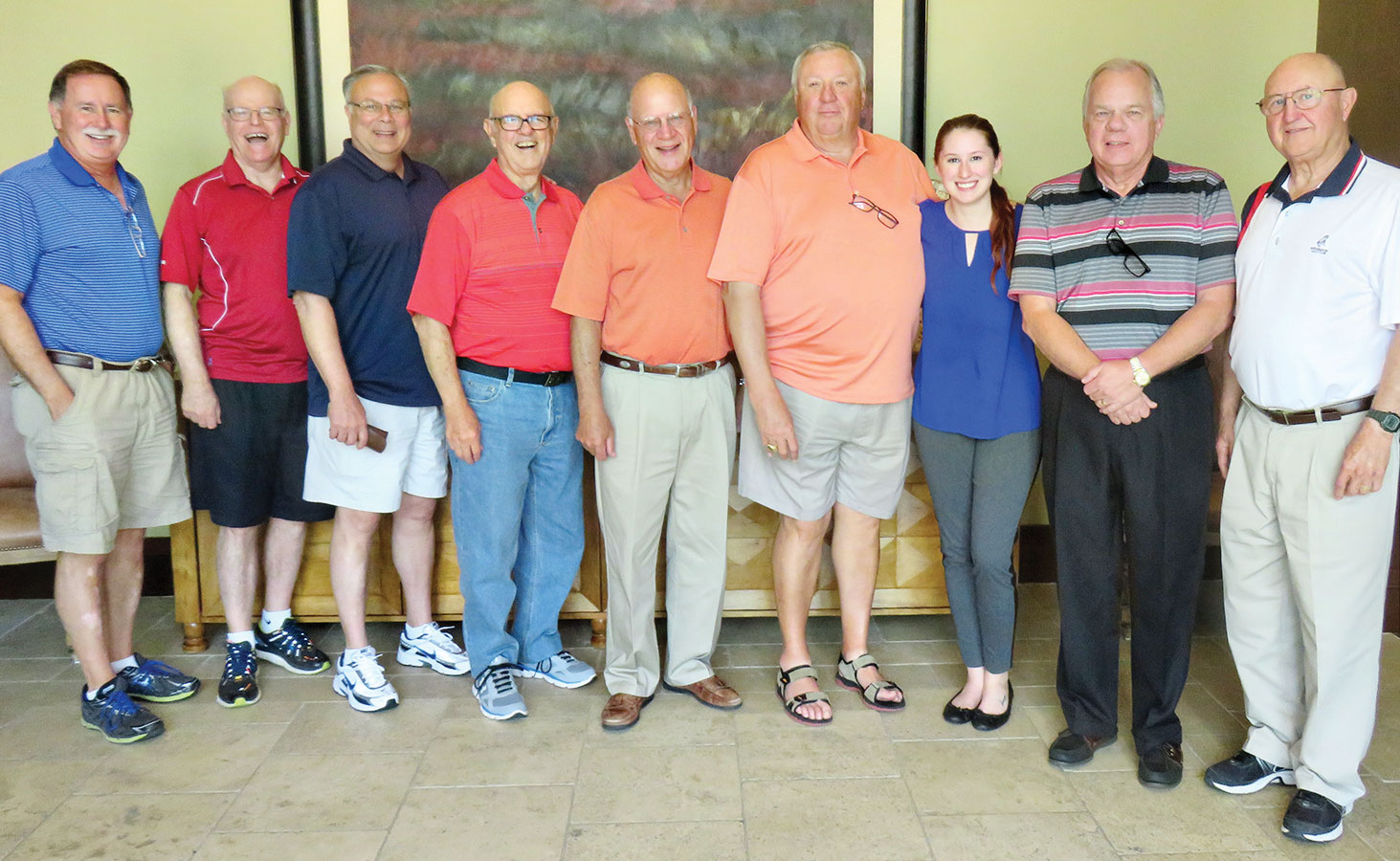 "Left to right: Dave Parker, Wayne Rees, Chuck Newcomer, Norm Leggett, Mike Elliott, Mick Fox, Frost, Ken Javor and ""D""wight Evans"