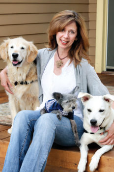 Author and TV personality Susannah Charleson with her dogs