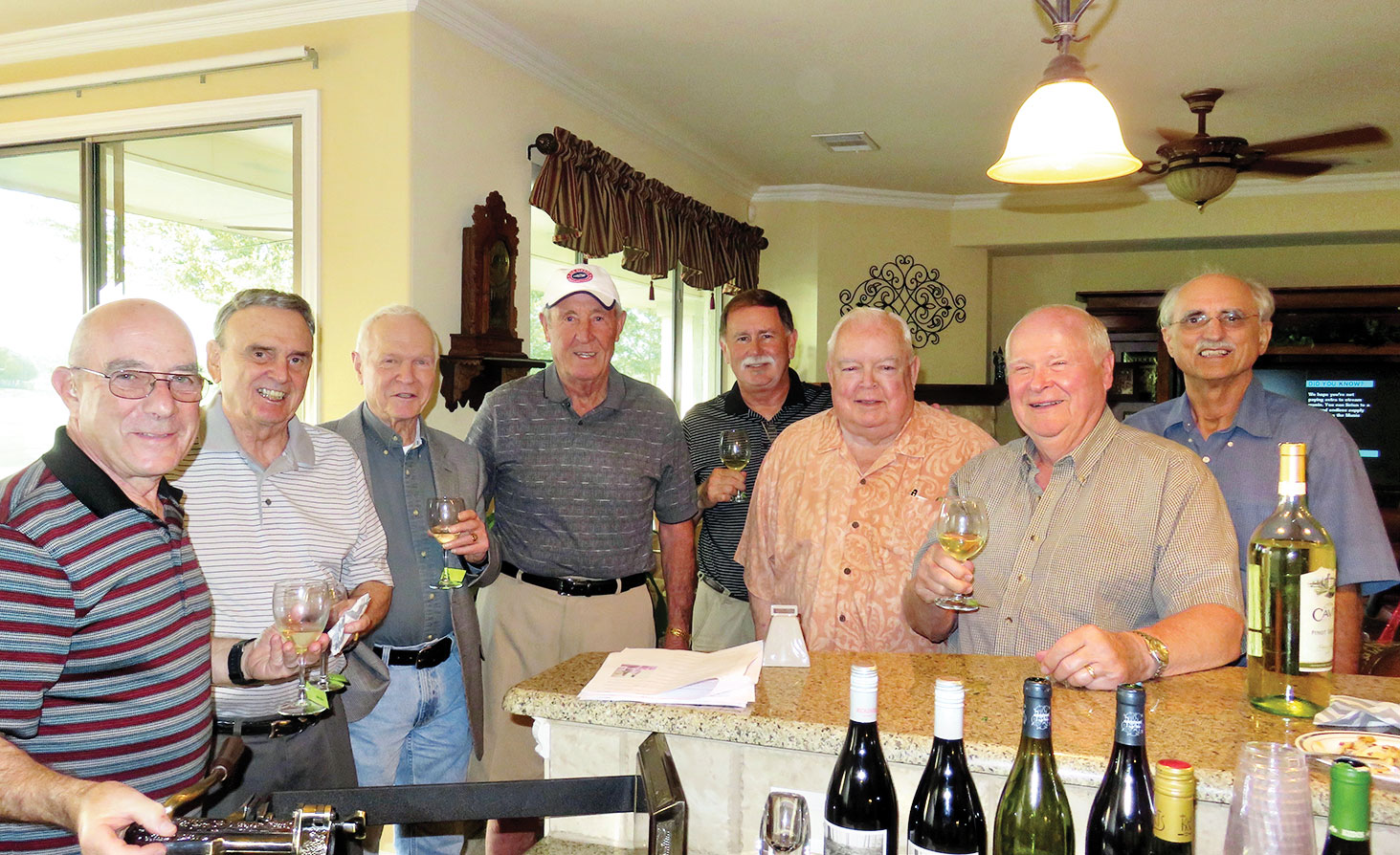 From left the Pinot Men are Mike Aramanda, Charlie Snowden, Al Wright, Jim Fox, Dave Parker, John O'Keefe, Frank Deardorff and Pete Toppan