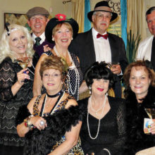 Socialites, seated: Mary Bryant, Nancy Toppan and Terry Gilberti; standing: Al Wright, Vivian Wright, Ken Bass, Catherine Bass, Roy Bryant and Mike Gilberti