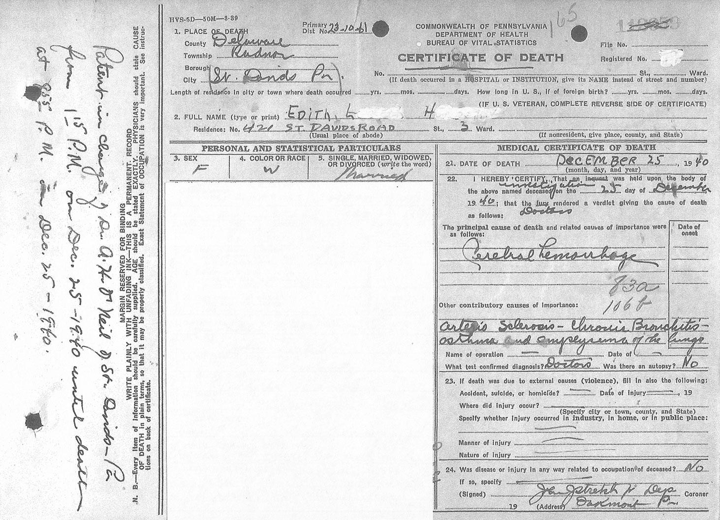 Edith's Death Certificate