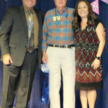 Dick Anderson, Mario Zavala, Director of Communications Denton Schools, and Dr. Linda Tucker, Principal at Evers Park Elementary