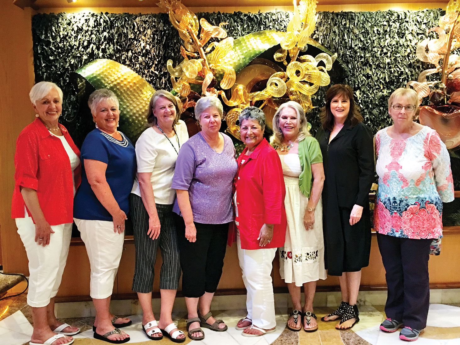 Robson Mah Jongg Cruisers, left to right: Raynelle Perkins, Sherry Light, Barbara Warren, Bonnie West, Renee Claytor, Wilna Neill, Carol Stoltz and Mary Metrolis