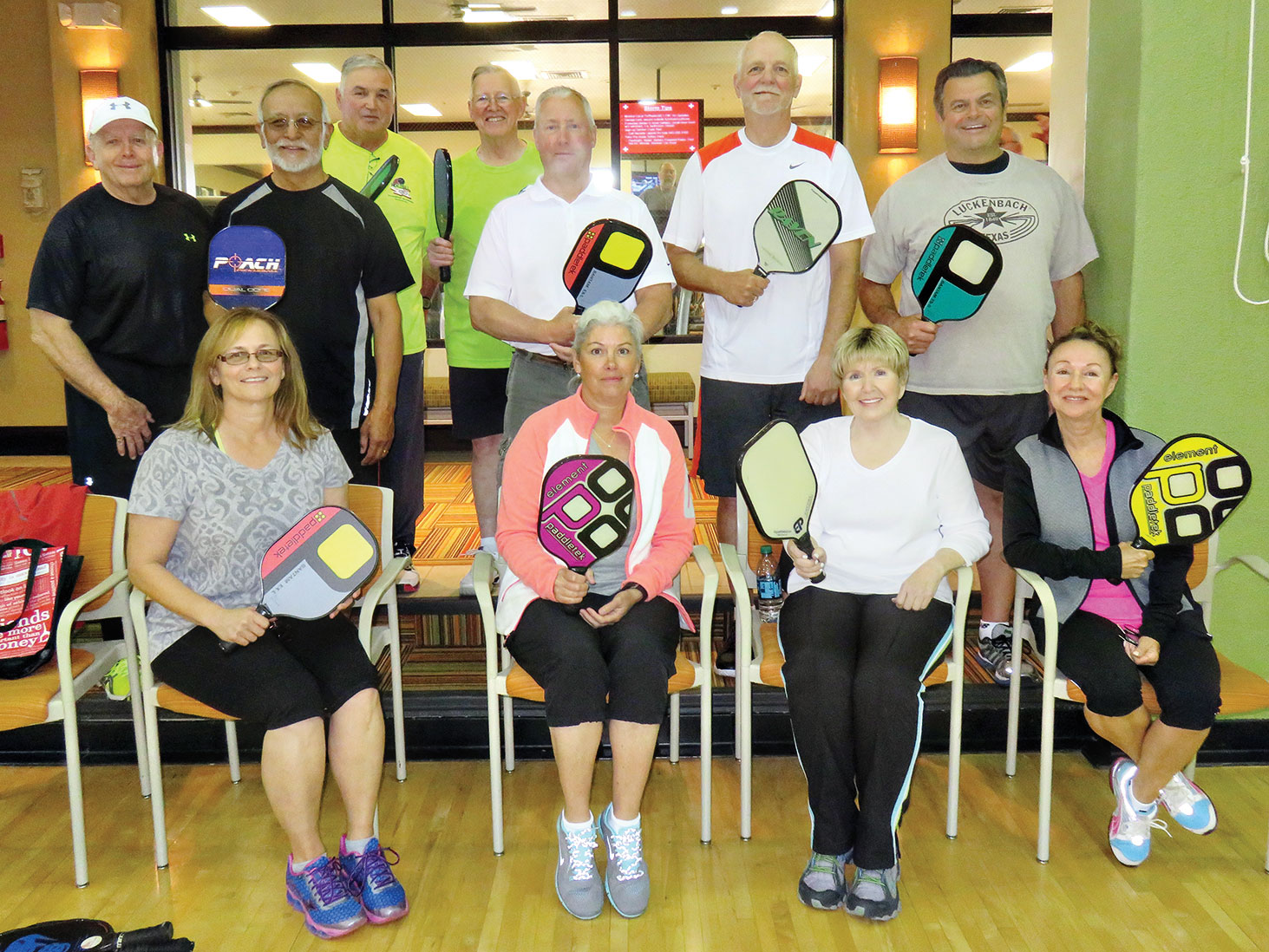 Dr. Tom Burke and graduates of the April Pickleball Academy