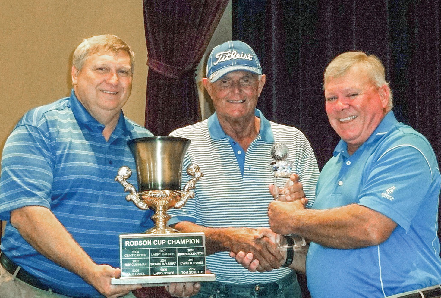 From left to right: David Thatcher, Wildhorse Golf Club, Head Golf Professional; Ted Dunson, Robson Cup Winner 2016 and Joe Cooper, President, Robson Ranch Men's Golf Association