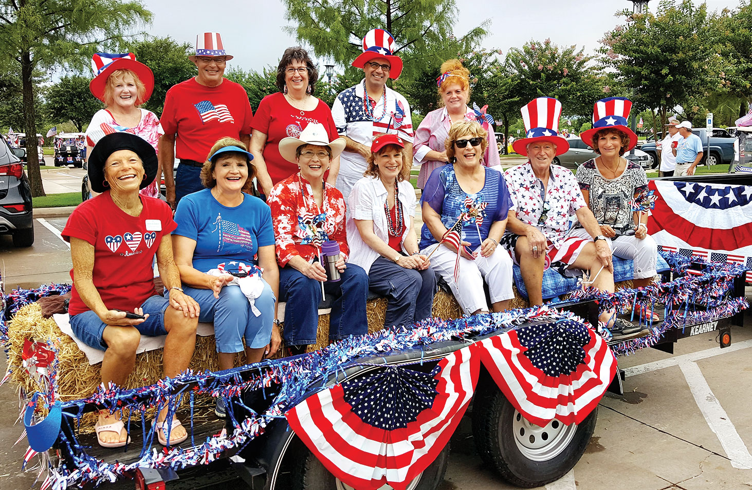 The choir ladies and their 4th of July float