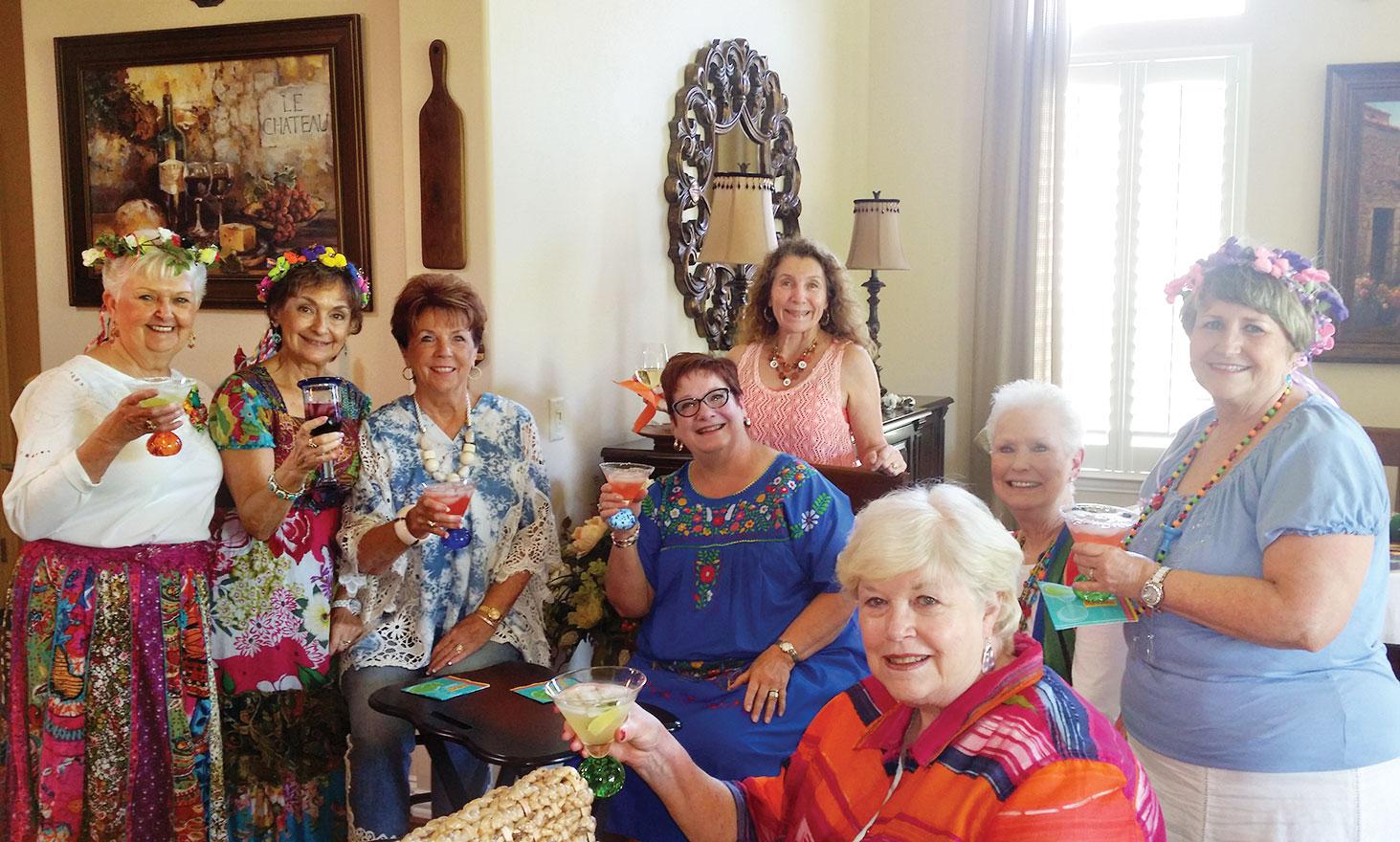 Colorful attire was worn by the LOLs: Sally Baggott, Peggy Crandall, Mary Ann Carroll, Gayle Coe, Judy Ondina, Glenda Brown, Carol Cieslik and Joan Krause.