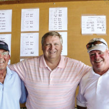 Left to right: Glenn Headley, MGA Vice President and Captain of the Blue Team; David Thatcher, Wildhorse Golf Club Head Golf Professional; and Joe Cooper, MGA President and Captain of the White Team.