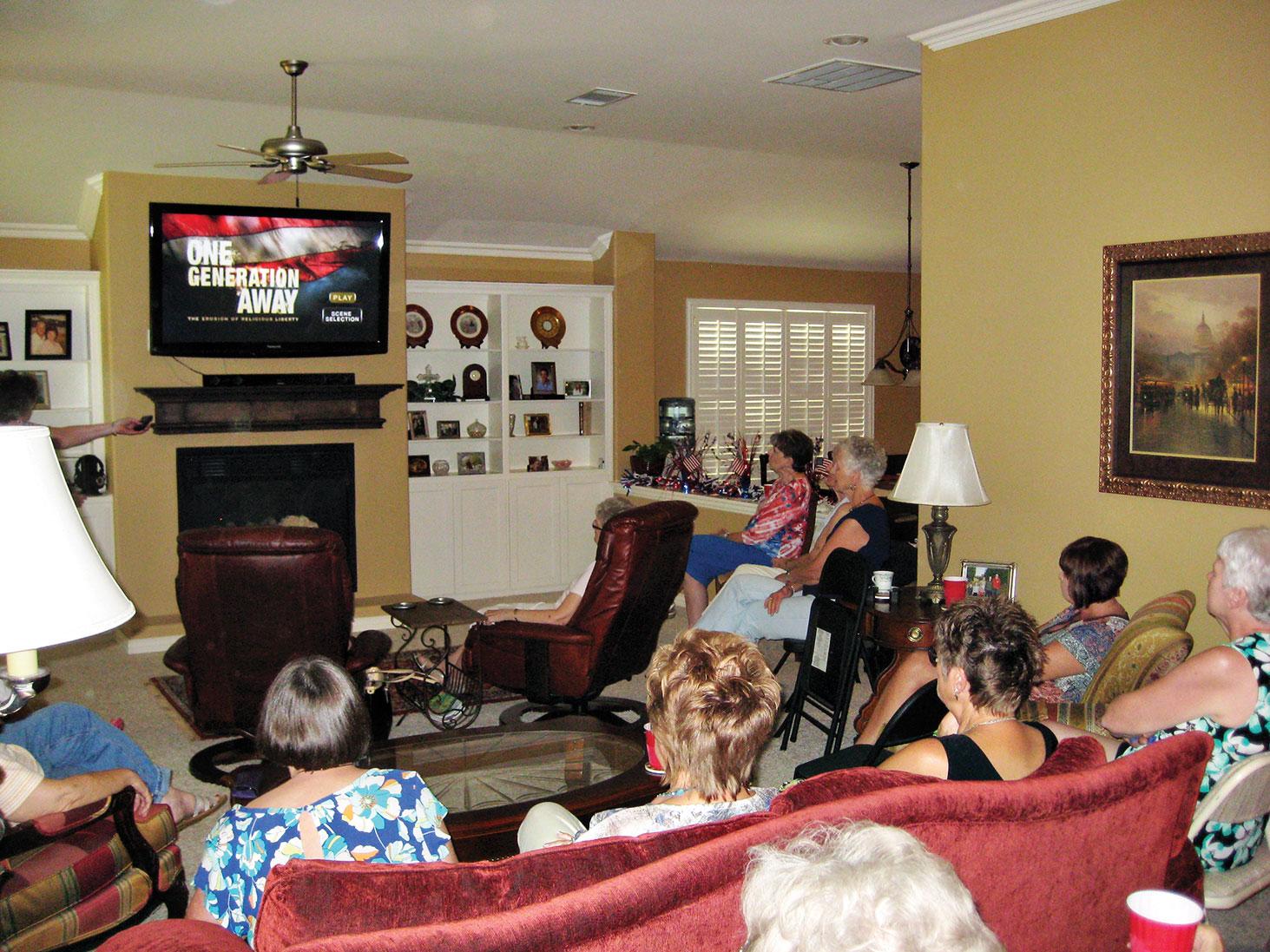 Movie goers: Judy Smith, Pauline House, Nancy Myers, Nancy Nevius, Karen Wesselmann, Leslie Brooks; photo by Nancy Thomas