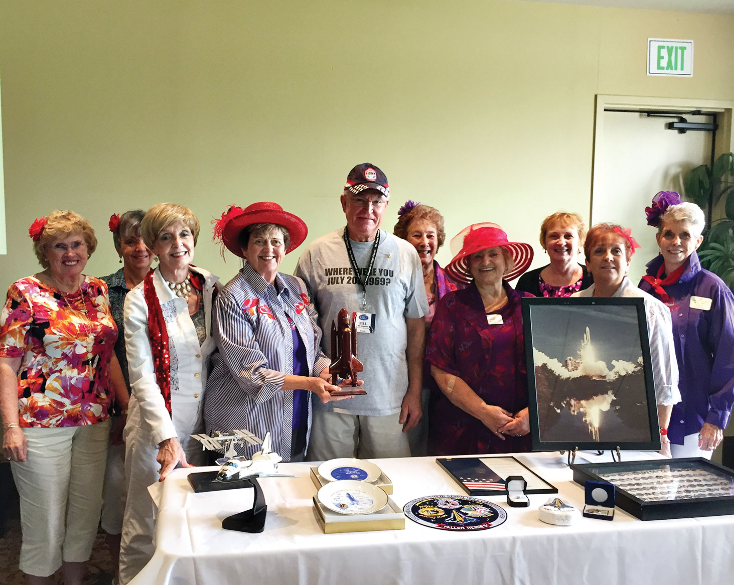 Left to right: Jean Euker, Joan Petre, Shirley Minderman, Lynne Hendren, Bill Johansson, Bev Clegg, Vicky Taylor, April Bayne, Trudy Searles and Sally Hampton