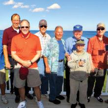 The adventurous fishermen, left to right: Dick Dauphinais, Clyde Roberts, Steve Williams, Dean Perkins, Joe Busick, Jim Galbrieth, Dean French, Wayne Rees and Scott Baker