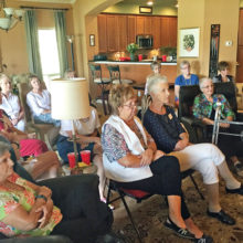 Attentive attendees: Billie Connell, Nancy Nevius, Peggy Zilinsky, Guest, Donna Hornsby from GA, Cathy Woods, Renee Carlson, Pauline House, Karen Wesselmann, Karen Payne, Sandra Anderson, Martha Crump and Vicky Ware