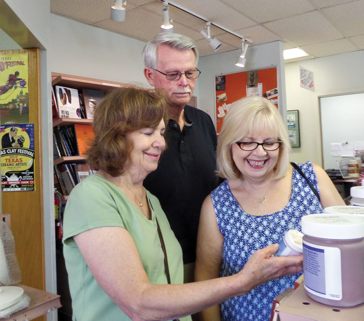 HP members Ellen Sullivan, Marion Napurano and Luther Robinson glaze shopping at Trinity Clay and Glaze