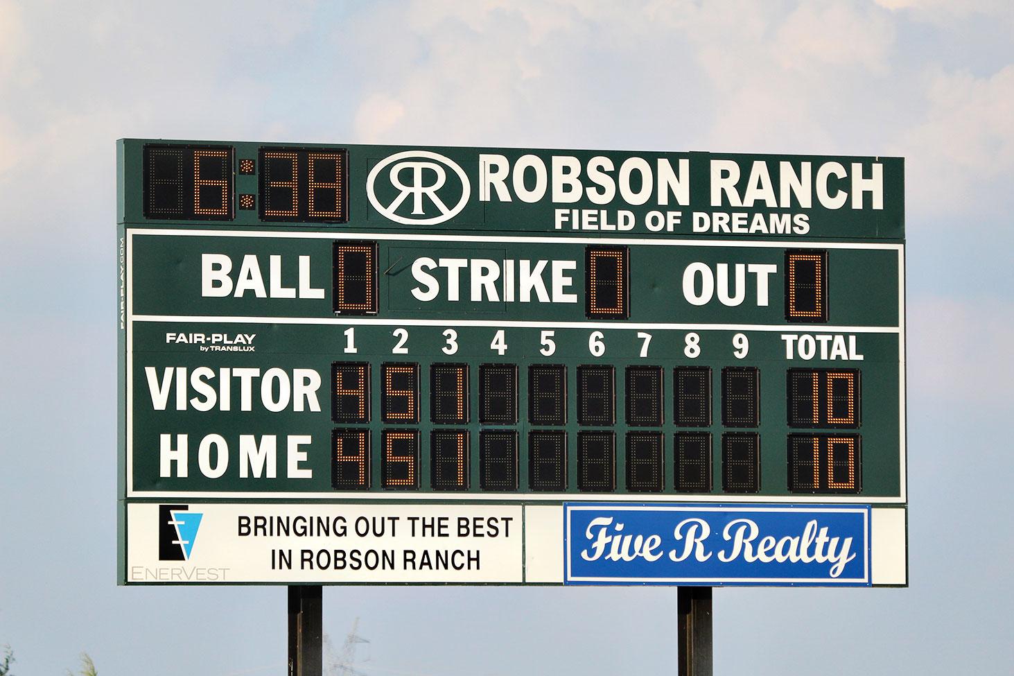 The Robson Ranch softball scoreboard