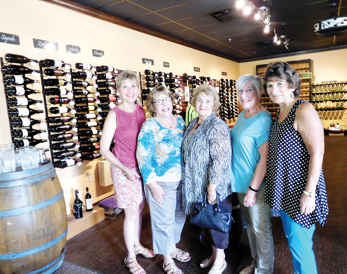The hostesses for the October wine tasting event were, left to right: Mala Bowdouris, Linda Terry, Betty Gardner, Nanci Zipes and Phyllis Ayers