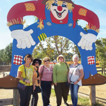 Left to right: Phyllis Ayers, Judy Smith, Linda Terry, Judy Loomis and Nanci Zipes visit the Flower Mound Pumpkin Patch.