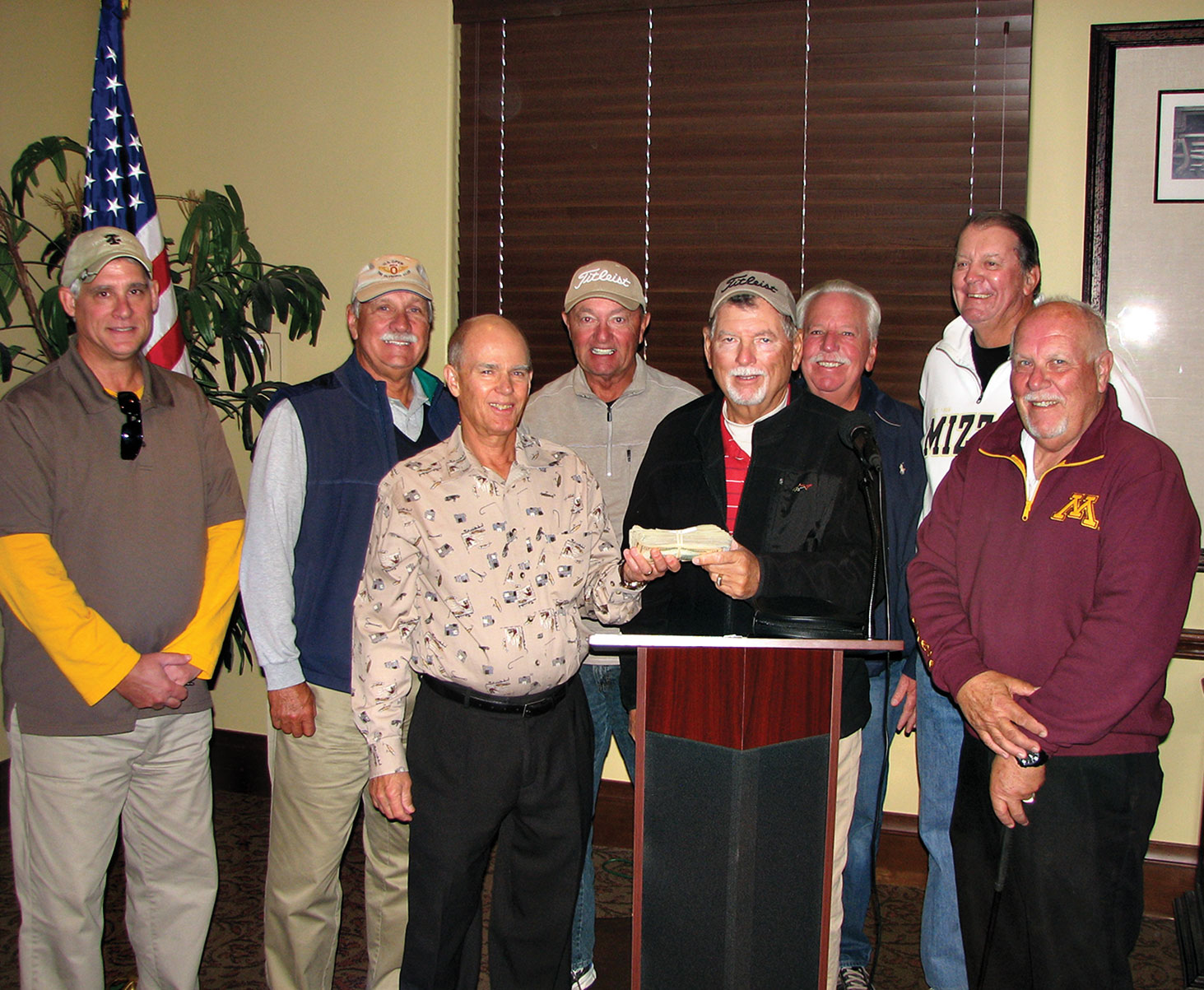 SOT Secretary Bill Wright, front left, and Doyle Hicks with the Featherheads