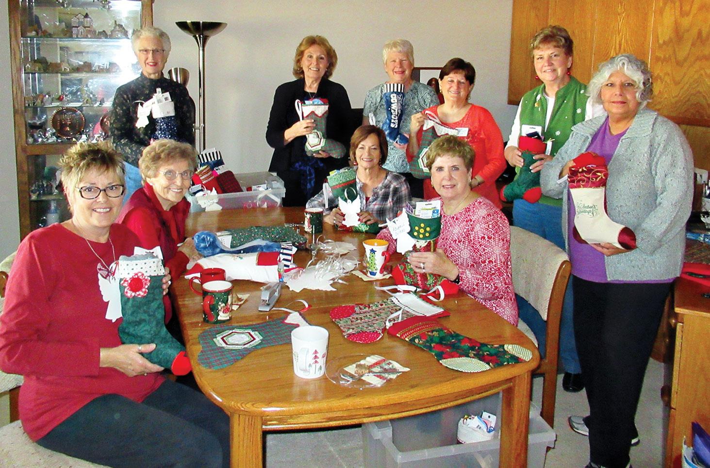 Stocking stuffers: Nancy Myers, Helen Reed, Karen Wesselman, Donna Chabot, Theresa Peoples, Nancy Nevius, LInda Smith, BJ Watson, Nancy Thomas and Emilia Bevington