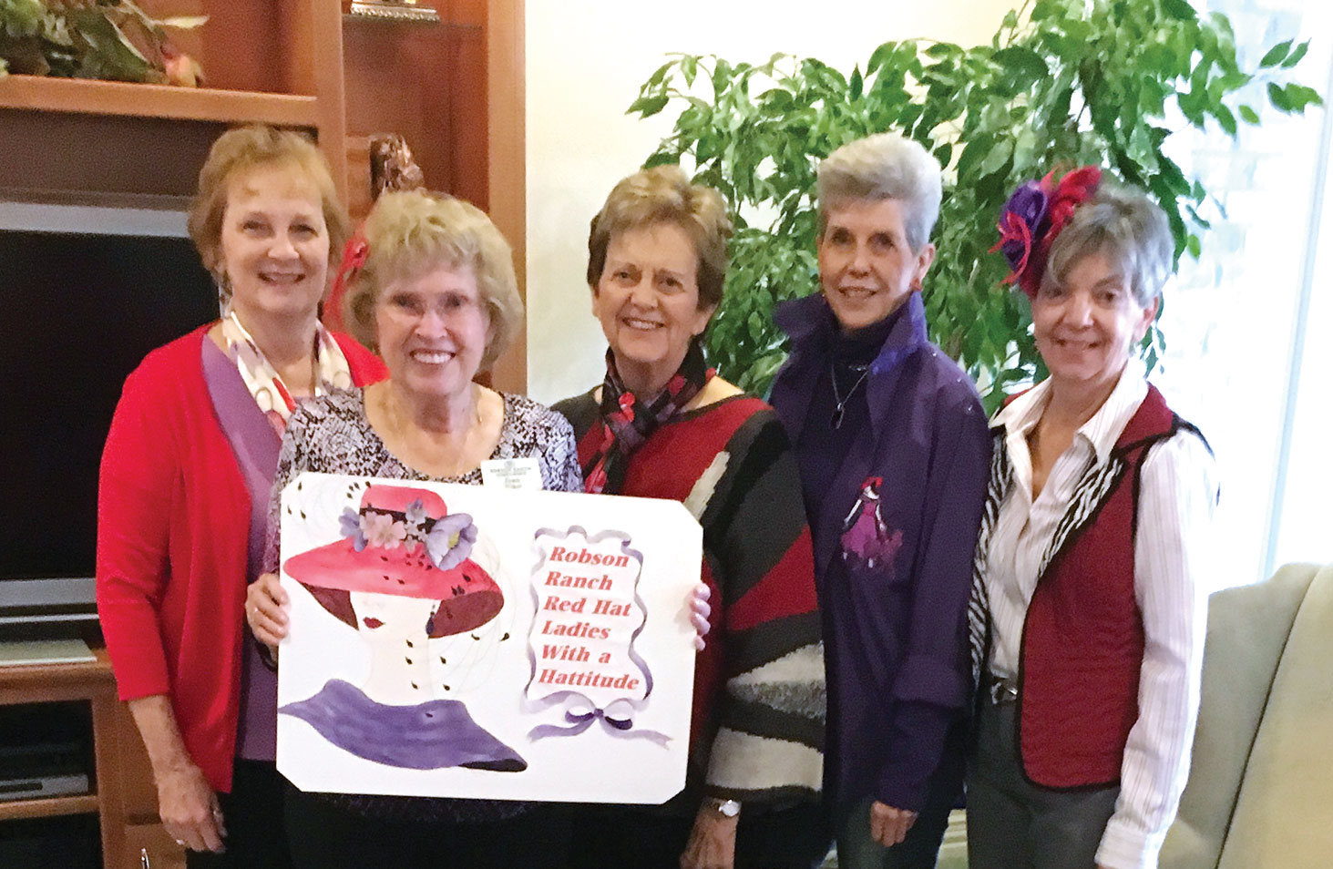 List of Red Hat Lady Hostesses, left to right: April Bayne, Jean Euker, Lynne Hendren, Sally Hampton and Joan Petre