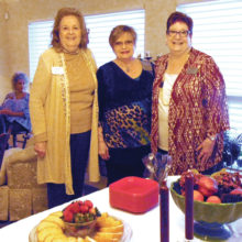 Women's Club's first New Member Coffee in 2017. Hosts (left to right) Joyce Ambre, membership, Sharon Foy, president and Gayle Coe, publicity
