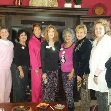 New members Patti Wallace, Vicki Baker, Rosemary Simecek, Mary Ann Carroll, Joan Frey, Arlene Stotts, Sheilah Ross, Joyce Ambre and Peggy Backes pose for the camera.