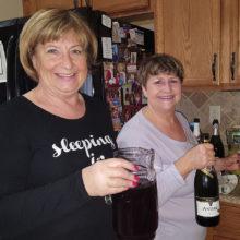 Valerie Tarren enjoys one of Carol Cieslik's special mimosas.