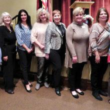 New members, right to left: Angie Gay, Sharon Watts, Karla Boggess, Celia Hall, Robin Williams, JoAnn Miller, Carol Whelan and Claudia Hollatz