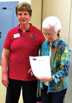 Chair, Support our Troops – Robson Ranch Sassy Stampers Marti Goodrich, right, and Nancy Thomas