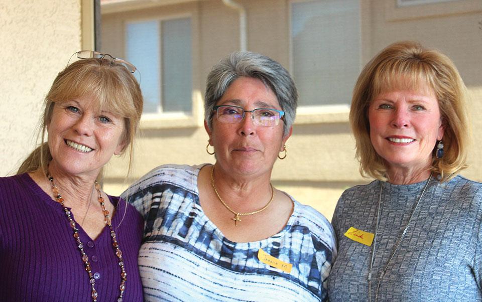 Victoria Pettigrew, left, Jeanie Martinez and Linda Klovans