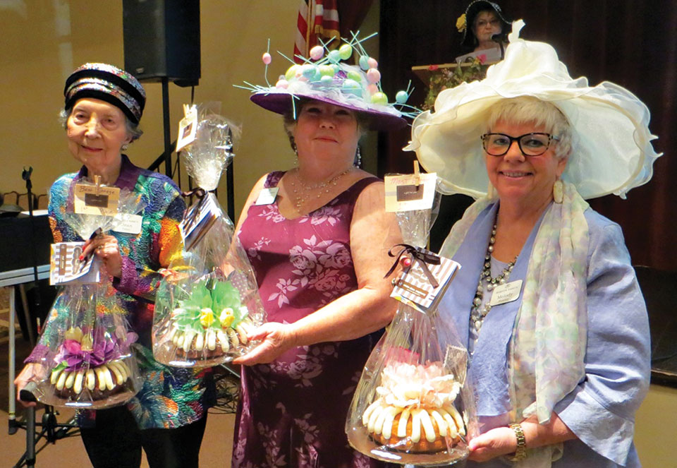Easter Bonnet Contest Winners, left to right: Most Vintage, Jean Talley; Most Creative, Judy Riffel; and Most Elegant, Melody Rowley