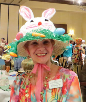 Just one of the many creative Easter bonnets modeled at the April luncheon.