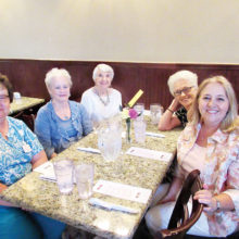 Lovely Ladies in attendance: Jacque Geist, Betty Langston, Bobbie McClintick; right side: Norma Thompson and Lane Adams, her daughter; photo by Nancy Thomas